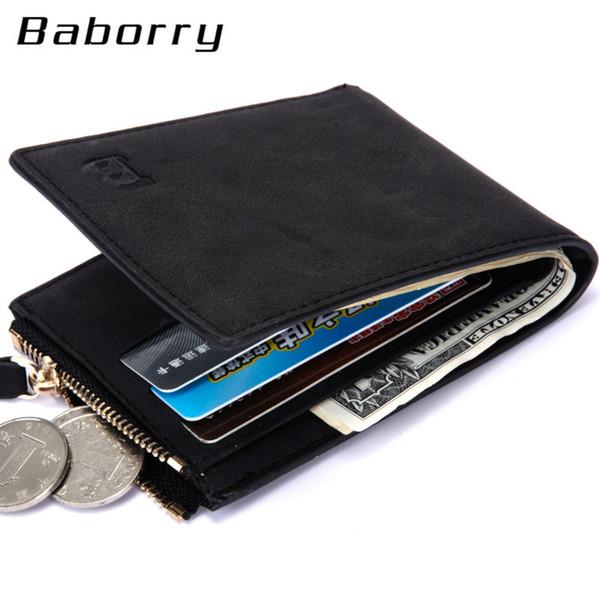 Hot Sale Dollar Price Coin Bag zipper new men wallets mens wallet small money purses Wallets brown Top Design Men Thin Nubuck Wallet