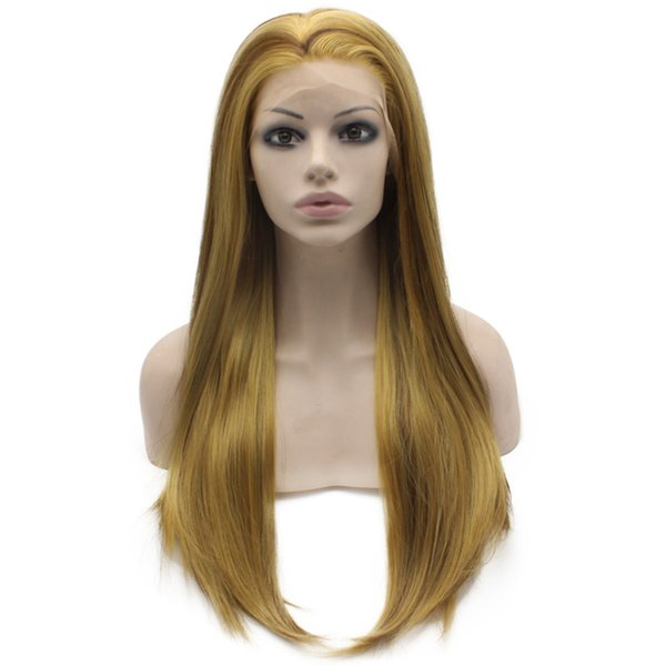 """24"""" Long Blonde Brown Mix Silky Straight Half Hand Tied Heat Resistant Synthetic Fiber Lace Front Wig S02"""