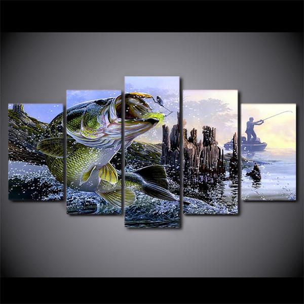 Dipinti su tela stampata 5 pezzi largemouth bass pesca Wall Art immagini su tela per soggiorno camera da letto Home Decor