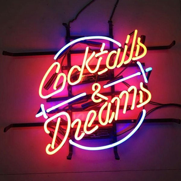 """17""""x14"""" Cocktails And Dreams Neon Sign Bar Wall Decor CUSTOM REAL GLASS TUBE LIGHT BEER BAR PUB CLUB STORE DISPLAY SIGN SIGNAGE"""
