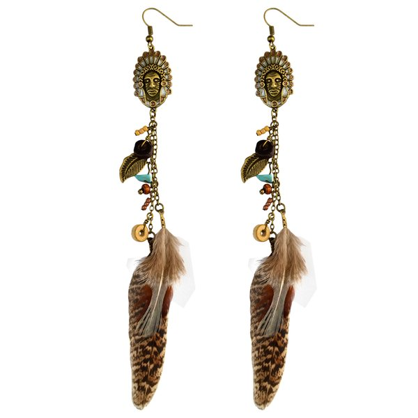 idealway Enamel Indian Bohemian Antique Bronze Natural Turquoise Stone Metal Leaf Feather Tassel Fishhook Earrings