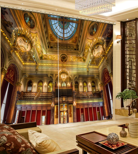 High Quality Customize size Modern golden building fashion decor home decoration for bedroom living room curtain