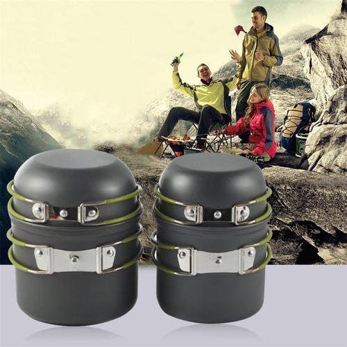 4pcs Outdoor Portable Cooking Cookware Anodised Aluminum Pot Bowl set Camping Picnic Hiking Utensils with Mesh Bag