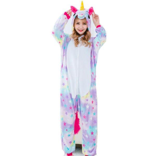 Star unicórnio traje das mulheres Onesies Pijamas Kigurumi Jumpsuit Hoodies adultos trajes de Halloween