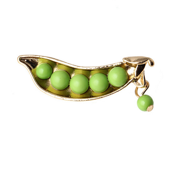 Wholesale- Korea Japanese style Cute Green pea brooch Gold Plated sweater collar brooch pin sweater suit Brooch pin accessory