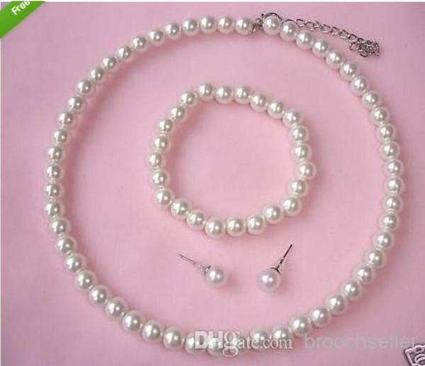 Creme Faux Acryl Perle Perlen Choker Halskette Armband und Ohrstecker Prom Party Schmuck Sets