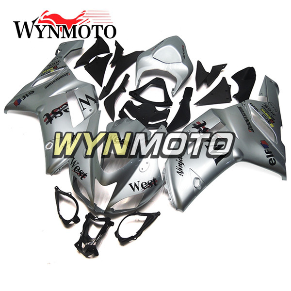 Fairings For Kawasaki ZX-6R 636 2007 2008 Injection ABS Plastic Cowling Covers Motorbike ZX6R Panels Body Kits West Silver Motorbike Panels