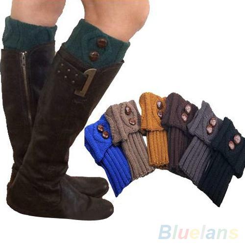 Großhandels- Neue Art und WeiseFrauen-Winter-Bein-Wärmer-Socken-Knopf-Häkelarbeit-Knit-Stiefelsocken-Deckel-Stulpen-Stulpen 22L6 84RH