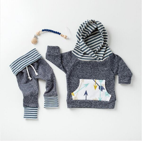 Baby Autumn Winter Clothing Sets Infant Toddlers Arrow Print Hooded Jumper Top+Long Pants Two Pice Sets Boys Long Sleeve Oufits