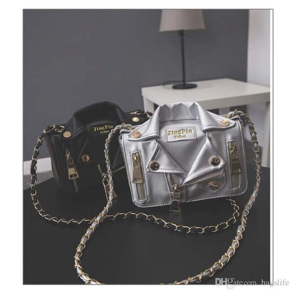 New European Brand Designer Chain Motorcycle Bags Women Clothing Shoulder Rivet Jacket Bags Messenger Bag Women Leather Handbags