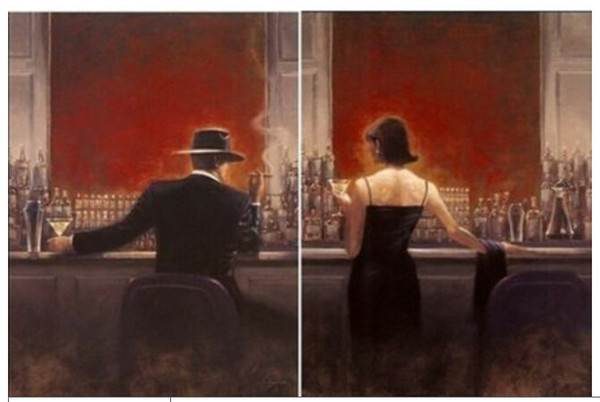 Framed 2pcs of the cigar bar Men and women,Pure Handpainted Pop Art Oil Painting High Quality Canvas.Multi Sizes Free Shipping al-China