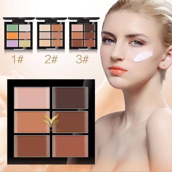 HUAMIANLI 6 Colors Contour Palette Concealer Face Primer Cream Make Up Facial Contouring Palette Makeup Corrector Base Palette