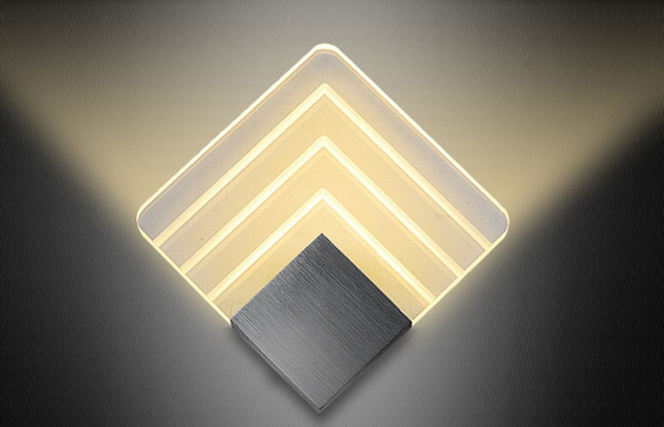 Modern LED Wall Lamps Sconces Aluminum Square Lights Fixture Decorative Night Light for Pathway Staircase Bedroom Bedside Lamp LLFA
