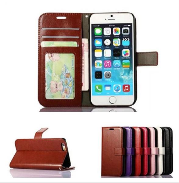 Di buona qualità Custodia portafoglio in pelle PU portafoglio con 3 slot per schede e cornice per iPhone X 8 7 6 6S Plus Sa Samsung S7 edeg S8 Plus Nota 8