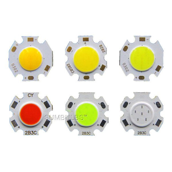 3/5/7W 20mm Diameter COB Chip On Board Warmm Cool Nature White Green Blue Red Colors LED Light Source for Spotlight Downlight