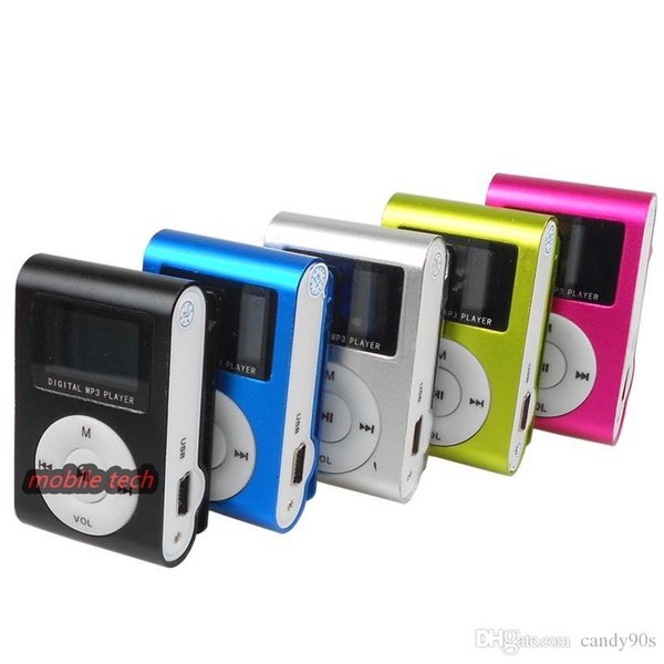 top popular Colorful MINI Clip MP3 Player with 1.2'' Inch LCD Screen Music player Support Micro SD Card TF Slot + Earphone +USB Cable with Gif 2019
