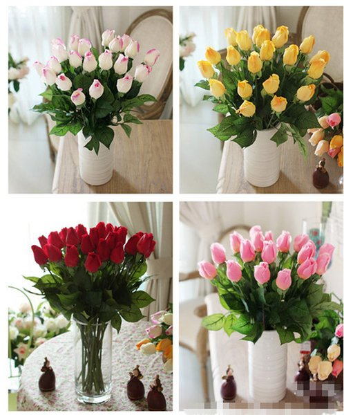 50pcs Lot Fresh Rose Artificial Flowers Real Touch Rose Flowers Home Decorative Flowers