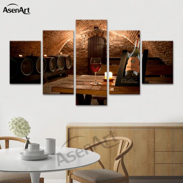 Compre Cuadros Decorativos 5 Panel Wall Art Canvas Impreso Gran Bodega De  Vino Pintura Para Cocina Comedor Decoración Del Hogar Dropshipping A $21.71  ...
