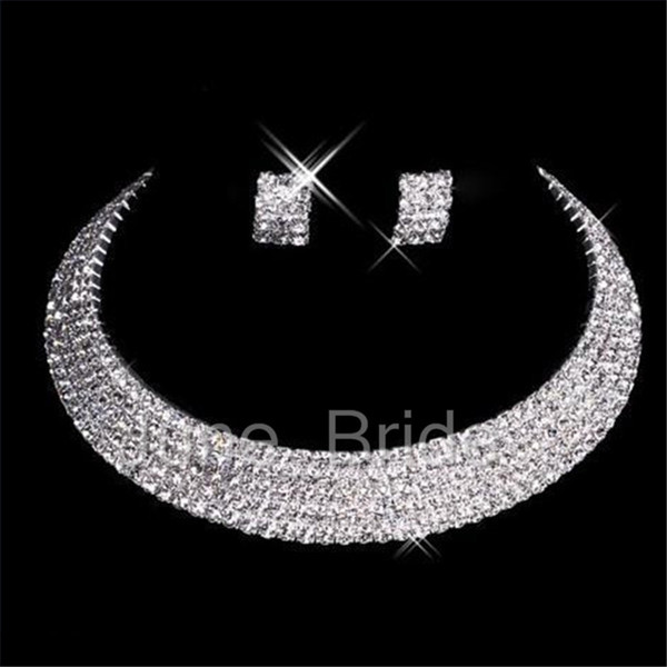 Classic Designer Sexy Men-Made Diamond Earrings Necklace Party Prom Formal Wedding Jewelry Set Bridal Accessories Free Shipping In Stock