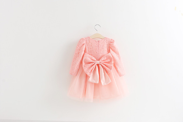 New 2017 Girls Dress Fashion Children Lace Dress Long Sleeve Big Bow Princess Dress 5 p/l