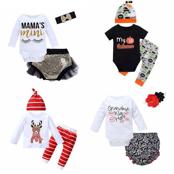 Conjuntos de ropa de tres piezas para bebés Cartas Mamelucos para bebés de dibujos animados Monos para niños Pantalones para niñas Pantalones cortos Diademas Sombreros Tops 6M-3T