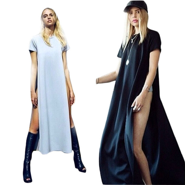 Wholesale- Sexy Dress T Shirt Dress For Women With Side Slit 2015Summer Fashion Brief Ladies Casual Clothes Vestido De Festa Maxi Dress C84