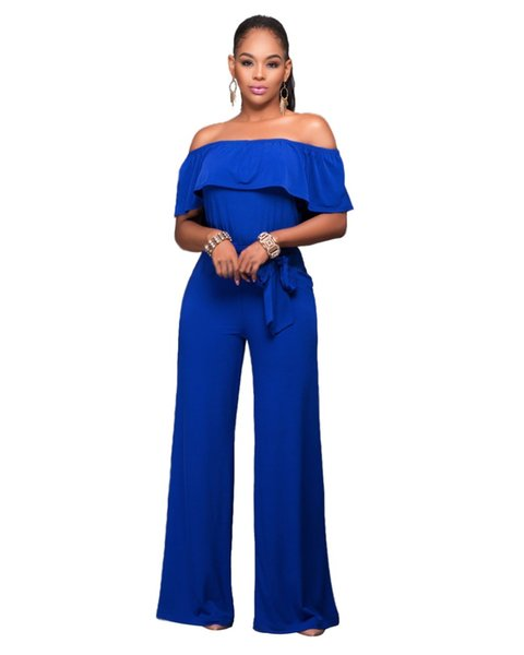 2019 Wholesale Adogirl Women Cape Cloak Jumpsuits Blue Rosy Strapless Rompers 2016 New Lady Ruffles Club Long Pants Jumpsuit One Piece Overal From