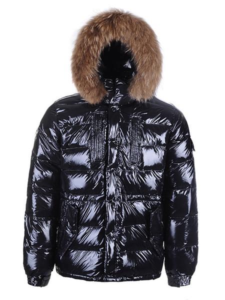Chaqueta con capucha caliente de la nueva de invierno de alta calidad de los hombres chaquetas de moda de lujo de piel de mapache cálido para hombres más el tamaño de abrigos del hombre acolchado venta caliente