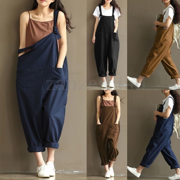 best selling Women Strap Dungaree Jumpsuits Overalls Long Harem Pants Trousers