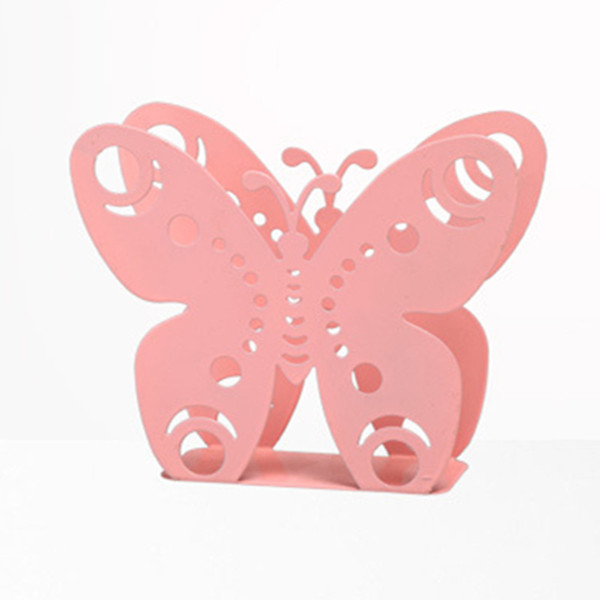 Wholesale- New Beautiful metal steel iron craft napkin paper holder towel tissue block rack rome cafe table decor box pink white butterfly