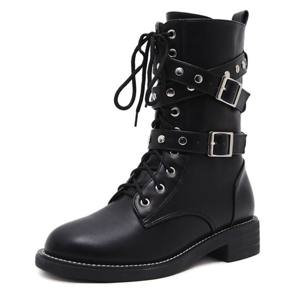 2018 new Autumn Martin Boots Fashion Handsome Women Short Boots Locomotive Knights Female Army Boots Creepers Women's Shoes