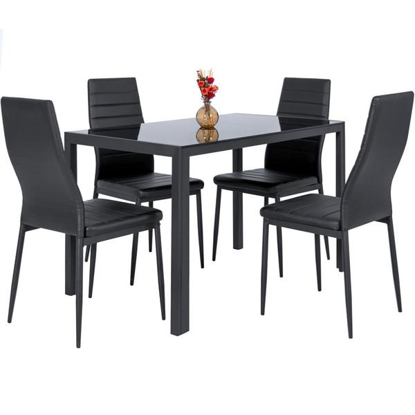 5 Шт Кухня Обеденный Стол Комплект Ж Стеклянная Столешница И 4 Кожаных Стула Dinette-Черный