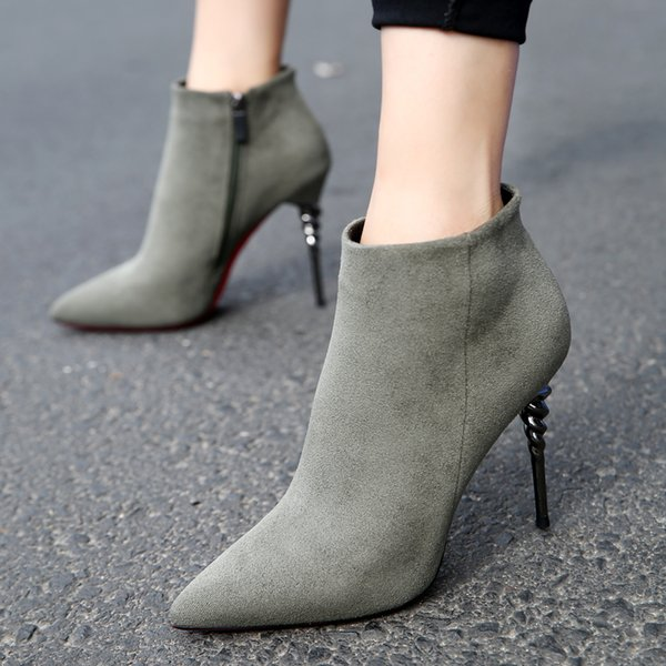 2018 Designer Extreme Lady Sexy Faux Suede Pump Women Shoes Ankle Autumn Botas Femininos Stiletto High Heels Boots