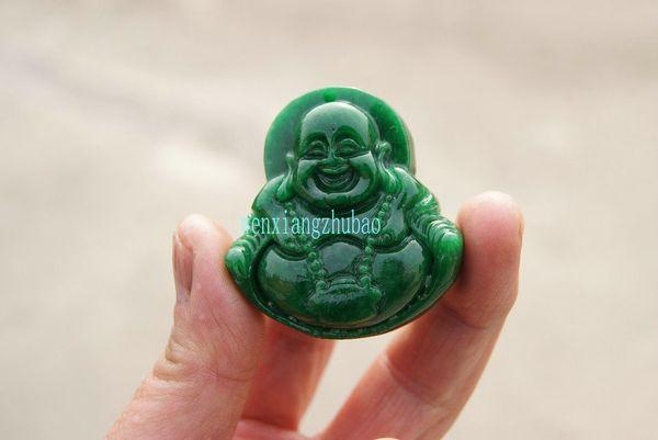 Natürliches grünes Jade-Jadehandwerkschnitzen, das alte Leben der langen Wege wiederherstellend, schließen Sie den Buddha. Talisman Halskette Anhänger.