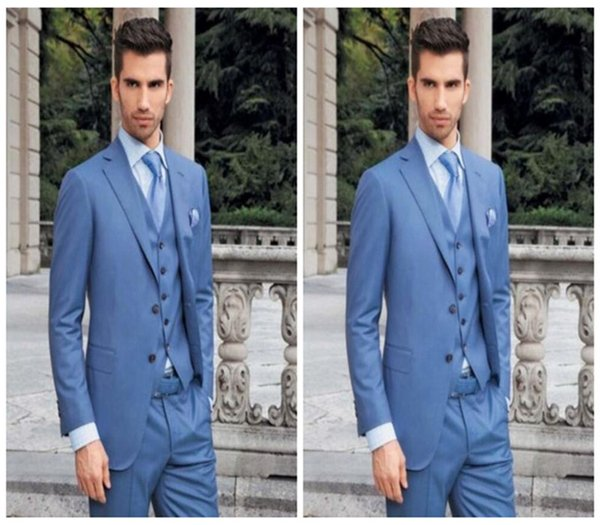 Blue men suits new style design wedding suits tuxedos high quality handsome groom best man dress suits(jacket+vest+pants)