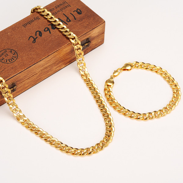 MENS WOMEN 14K SOLID YELLOW FINE GOLD FINISH MIAMI CUBAN LINK BRACELET NECKLACE CHAIN SETS FREE SJO[[OMG