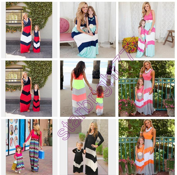 top popular 16 styles Family Matching clothing Outfits Girls patchwork Sets mother and daughter beach matching dresses Clothes maxi chevron stripe dress 2019