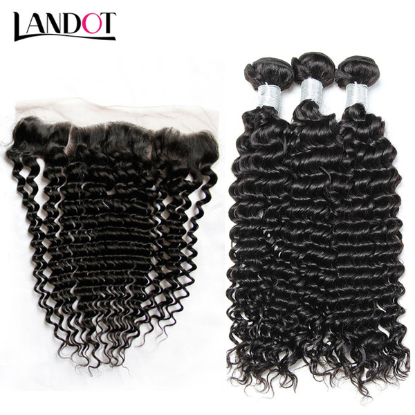 Brazilian virgin hair weave with lace frontal clo ure 3 bundle peruvian indian malay ian cambodian deep jerry curly human hair clo ure
