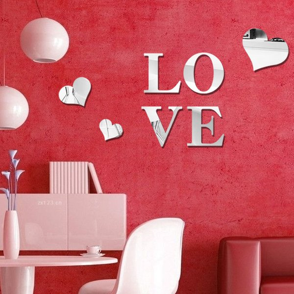 3d Loving Heart Shape Mirror Wall Stickers Diy Art Decal Removeable ...