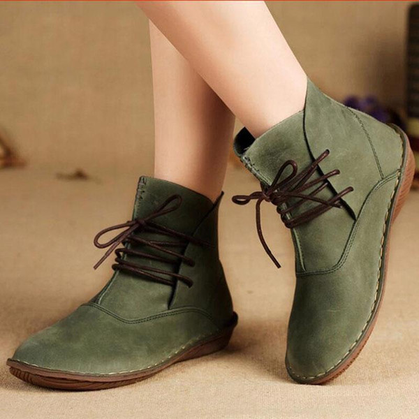 best wholesaler factory price unique design Women Cow Leather Ankle Boots Lace Up Single Shoes Retro Japanese ...