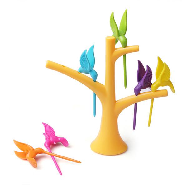 50set Hummingbird Ağacı Birdie Meyve Çatal 1 Standı + 6 Çatallar Kürdan Meyve Aracı Karikatür Parti Çatal bulaşığı Yemek takımı Seti
