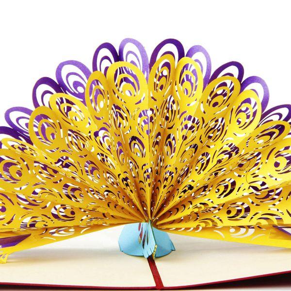 Atacado-2016 Criativo 3D Up Folding Greeting presentes da festa de casamento de aniversário postais cartões convites Obrigado cartão com envelope