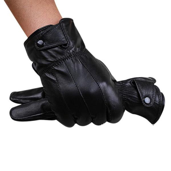 Wholesale- Luxury Men Winter Warm Black Leather Touch Screen Super Driving Mitten Male Full Finger Soft Cashmere Wrist Gloves Nov8