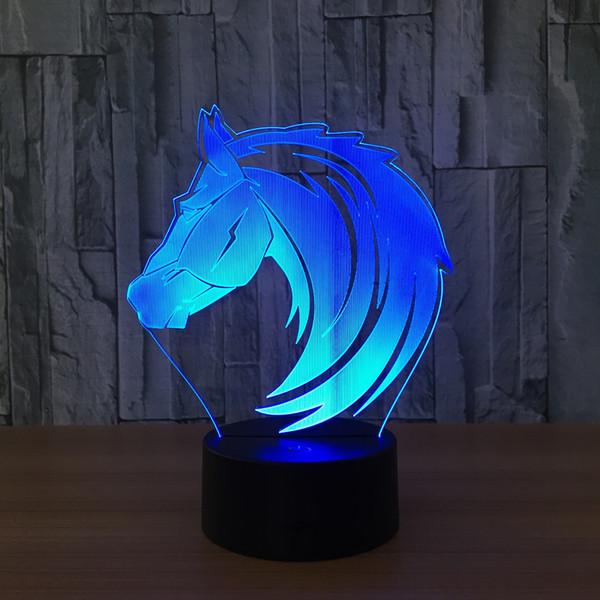 3D Horse Head Illusion Lamp Night Light DC 5V USB Charging AA Battery Wholesale Dropshipping Free Shipping Retail Box
