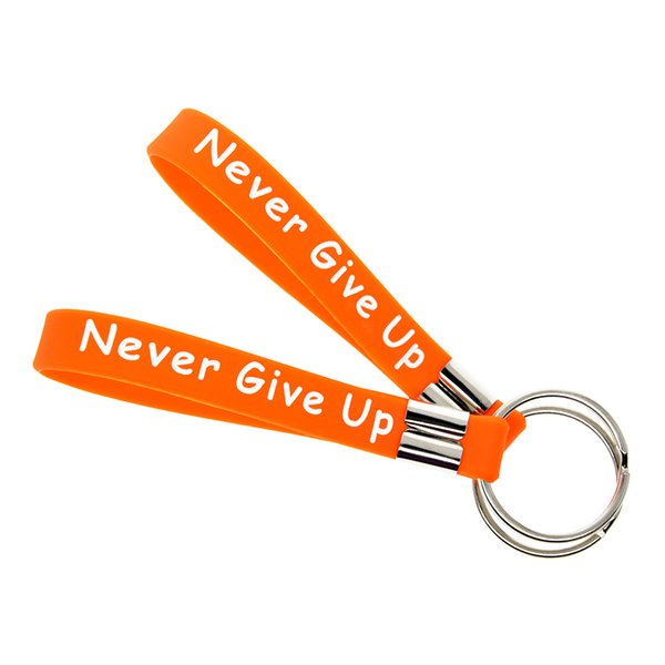 50PCS/Lot Ms Fighter Never Give Up Silicone Key Ring Inspirational Bracelet Keychain Great To Used In Any Benefits Gift