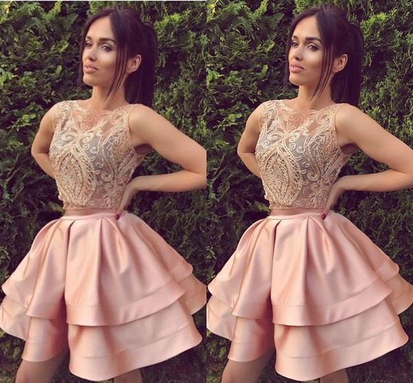 687cc3f5ff2 2 Piece Short Homecoming Dress Blush Pink with Lace Appliques Beads Mini  Prom Dresses Graduation Party