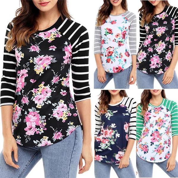 2017 Outono Novas Mulheres Roupas Casuais Manga Longa Do Vintage Listrado Floral Imprimir Camisetas Plus Size Senhoras Camisa de Algodão T Tops DHL NX170909