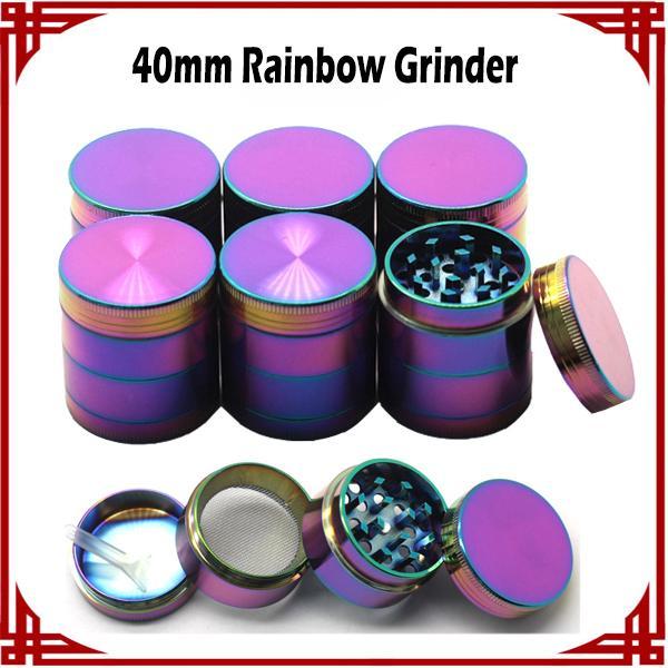 [ sp ] Hot Selling Ice Blue Grinder Rainbow Grinders 40mm 4 Pieces Herb Grinder Magnet Top Zinc Alloy Material VS Sharp stone Grinders
