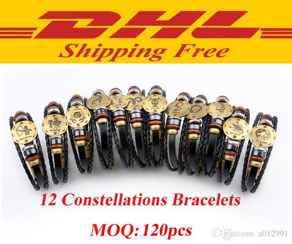 DHL livraison gratuite 12 Constellations Bracelet 2017 Nouvelle Mode Bijoux En Cuir Bracelet Hommes Casual Personnalité Signes Du Zodiaque Punk Bracelet