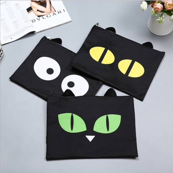 Cartoon Black Cat Storage Bags A4 Big Capacity Document Bag Business Briefcase Storage File Folder for Papers Stationery Student Gift